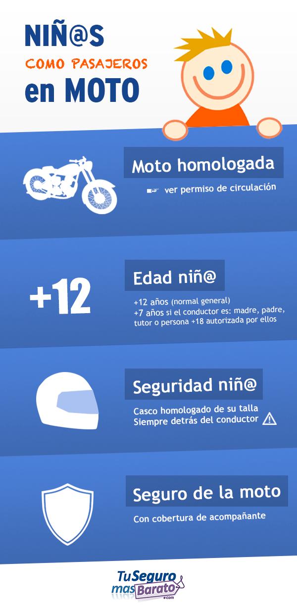 Niños como pasajeros en moto